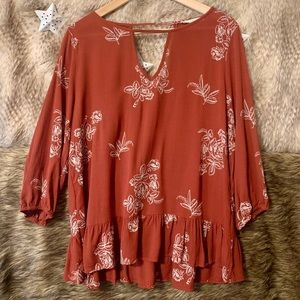 Entro Floral Embroidered Blouse